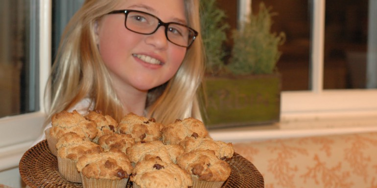 Whittier and Chocolate Chip Whole Wheat Muffins for her class