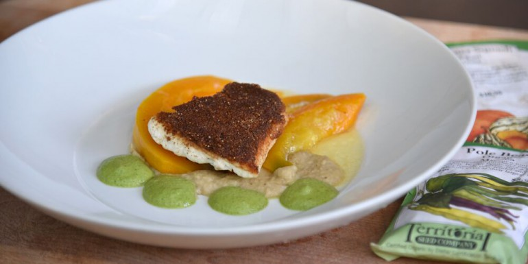 Hopi Indian Corn crusted halibut, red kuri squash & pole bean puree