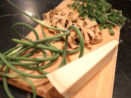 End of Spring garlic scape pasta