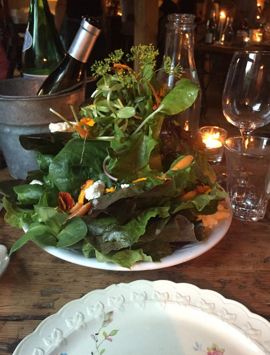 Local greens with marigold, fennel flowers, carrots & smoked ricotta cheese