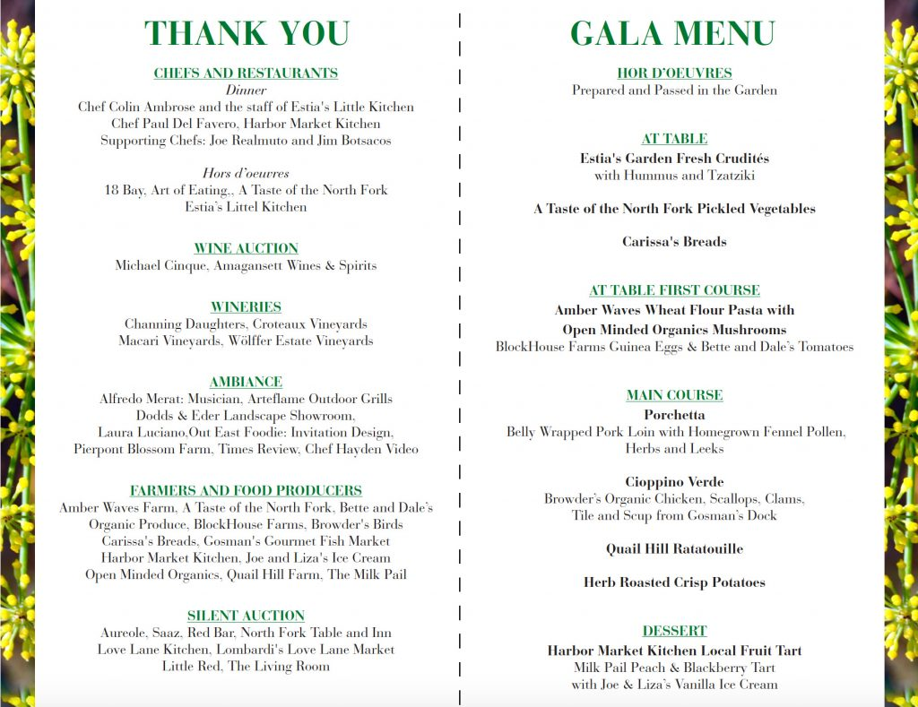 The Gala in the Garden list of Participants, Wine Auction Details and Menu