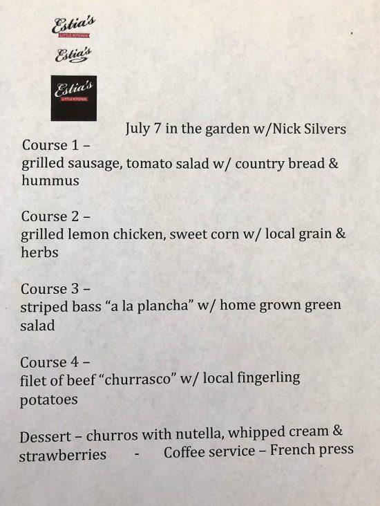 Asado birthday party 4 course menu