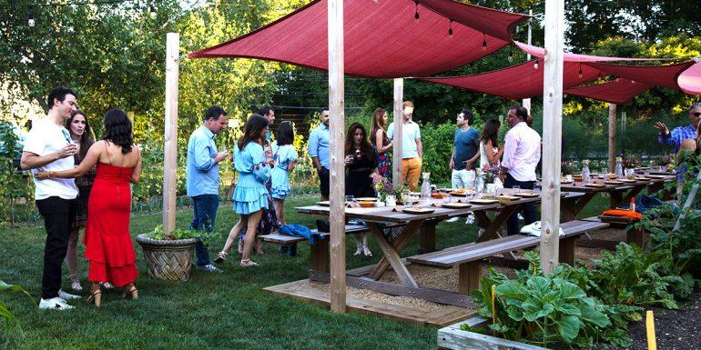 Asado birthday party in Estia's garden using new outdoor setup
