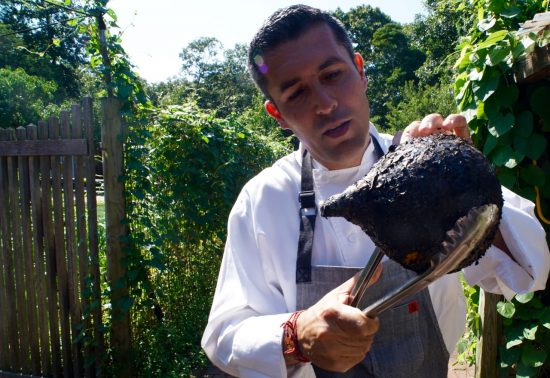 Chef Juan Pablo with the burned Red Kuri Squash