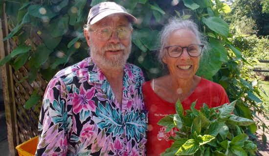 Dale & Bette delivering basil & cucumbers