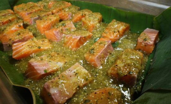 Salmon wrapped in Banana leaves, steamed with tomatillo salsa