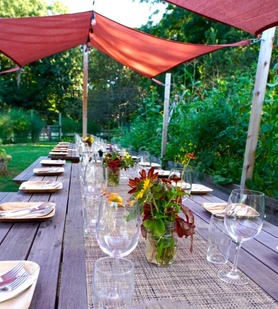 Outdoor Table settings with beautiful Quail Hill Flowers