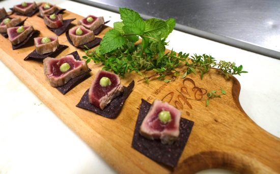 Seared Montauk Tuna with avocado puree