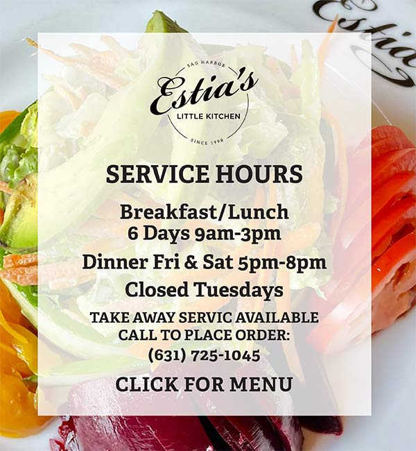 Indoor dining and take away service hours at Estia's