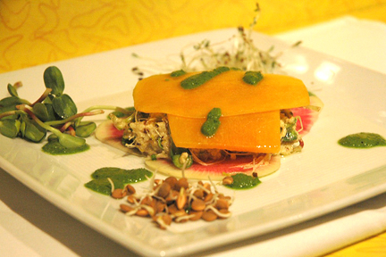 Three Sprout Sandwich with Pinenut Cream and Parsley puree, parsnips and butternut squash