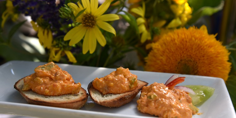Pimento Cheese Spread with red chili and green tomato relish