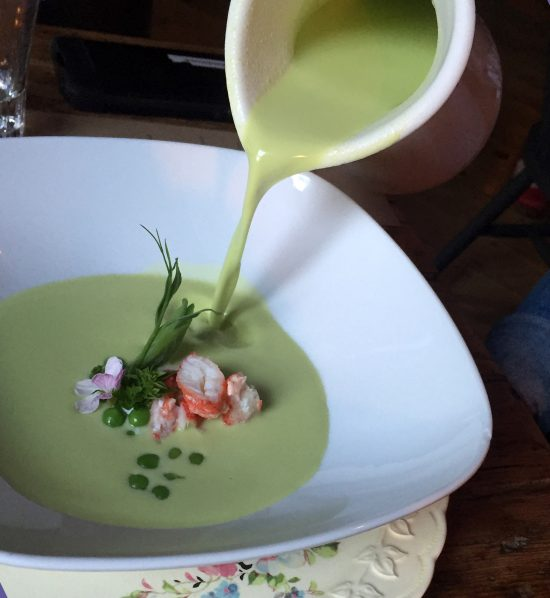Cool sweet peas soup with lobster & Creme fraiche