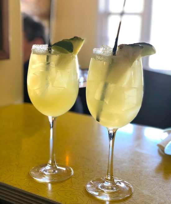 Pear and Habanero Margaritas on a Friday afternoon at the Little Kitchen in Sag Harbor
