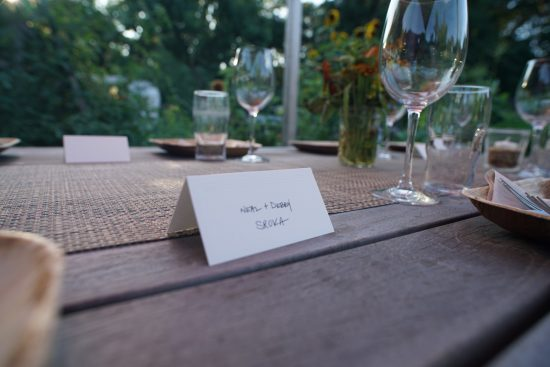 Place card for Debby and Neal Sroka