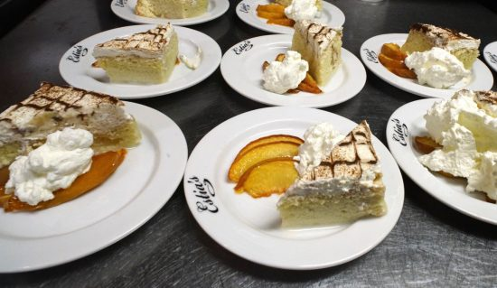 Tres Leches Cake with peaches for dessert