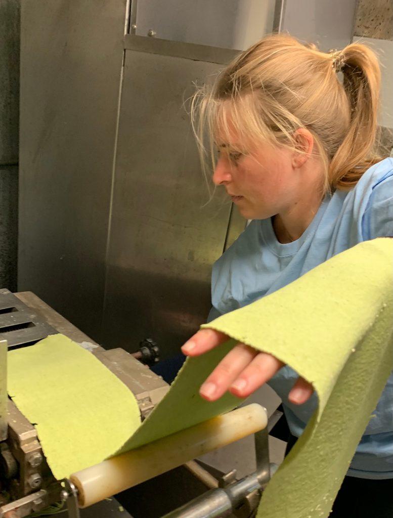 Arugula Pasta sheets, cutting fettuccine