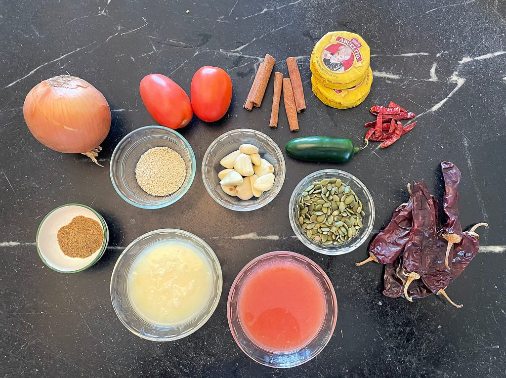 Ingredients for mole