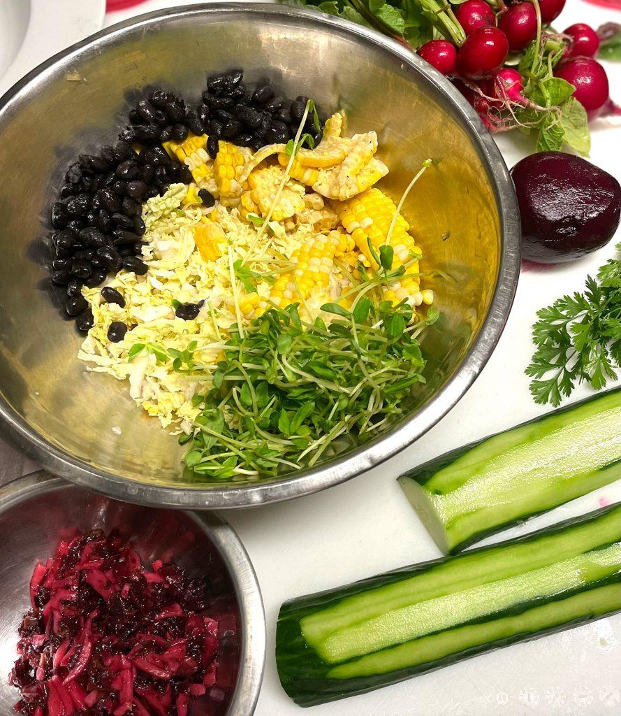 Aquachile Rojo Salad prep